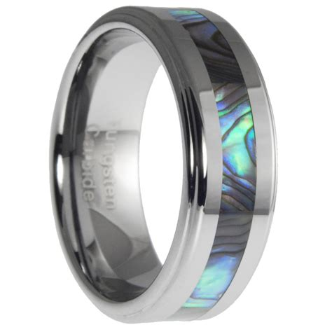 silver necklace mens 8mm tungsten ring with abalone shell inlay mens wedding
