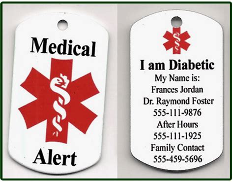 military style dog tag medical alert necklace dt  medch