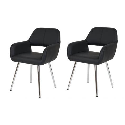 lot de 2 chaises de salle 224 manger fauteuil r 233 tro similicuir noir cds04080 d 233 coshop26