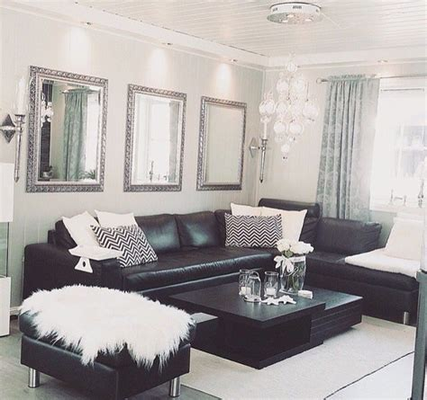 Room Decor Pillows by Black White Silver Leather Sofas Fluffy Pillows