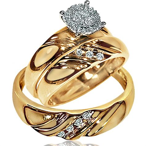 wedding ring set for him and his wedding rings set trio men women 10k yellow gold