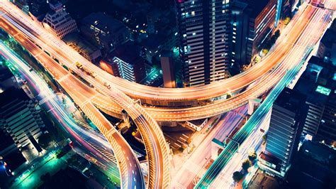 wallpaper highway junction aerial view nightscape