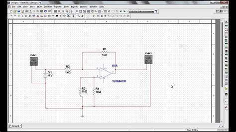 simulacion de amplificador inversor  op amp tl youtube