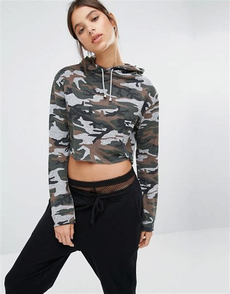 print cropped hoodie missguided missguided camo print cropped hoodie
