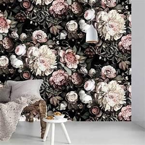 Papier Peint Grosses Fleurs : dark floral ii black saturated floral wallpaper by ~ Dode.kayakingforconservation.com Idées de Décoration