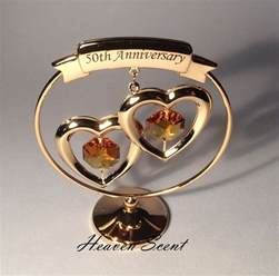 50 wedding anniversary gift ideas 50th golden wedding anniversary gift ideas gold plated swarovski crystals sp250 ebay
