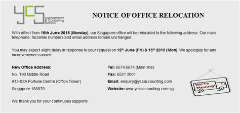Notice Of Office Relocation (singapore Office)