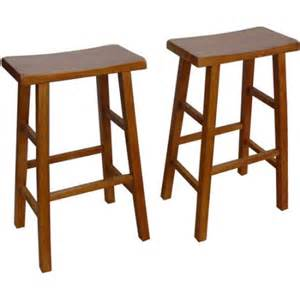 mainstays saddle bar stools 29 quot set of 2 walnut