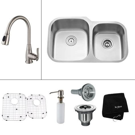 stainless steel sink faucet kraus all in one undermount stainless steel 32 in double