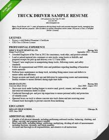 resume for applying driver position truck driver resume sle and tips resume genius