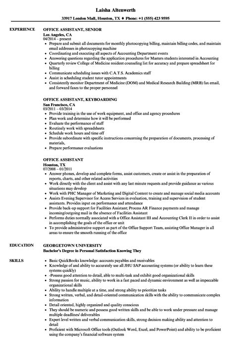 Office Assistant Resume Exles by Office Assistant Resume Sles Velvet