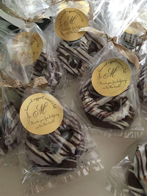 chocolate covered pretzel knots wedding favors britt