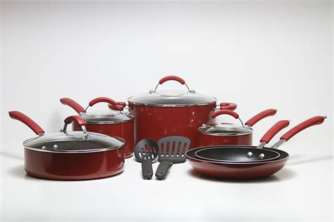 red pots  pans  white table ceramic cookware ceramic cookware set kitchen essentials
