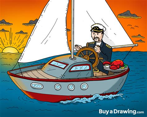 retirement gift cartoon drawing college professor sailing