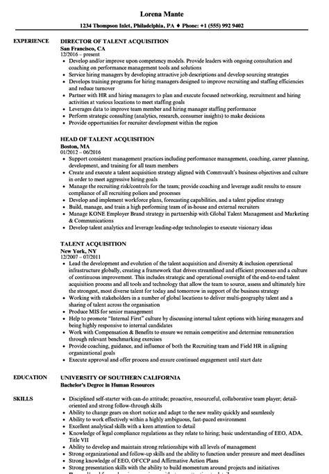 Talent Resume by Talent Acquisition Resume Sles Velvet