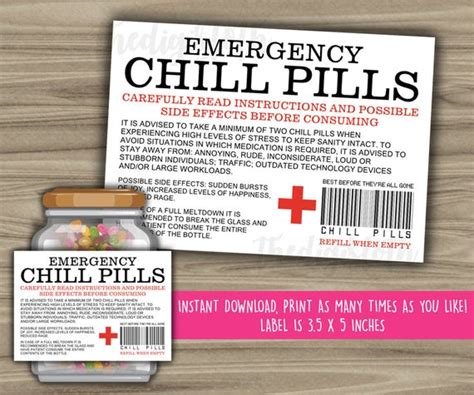 chill pills printable label funny gift instant