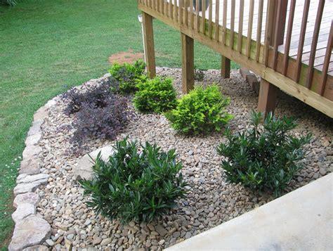 landscaping around deck stairs home design ideas