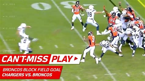 broncos game winning field goal block   play