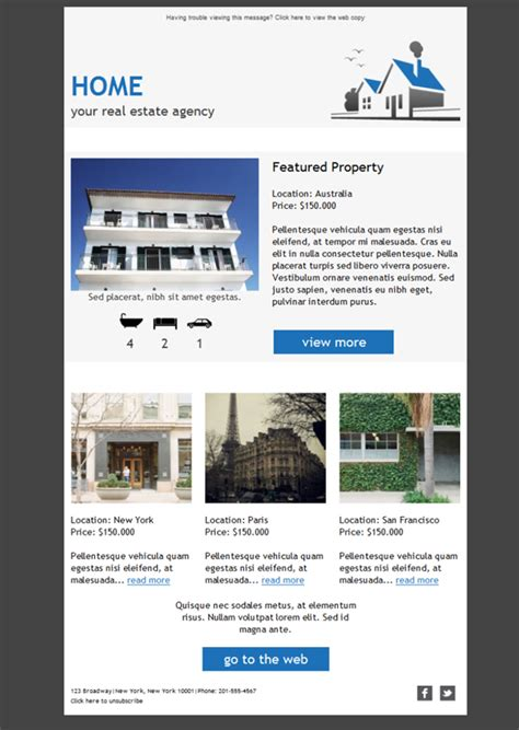 Email Newsletter Templates Real Estate by Free Email Templates Download Design Real Estate Agency
