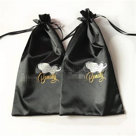 custom luxury black thick silk satin drawstring bundle dust hair extension bag  logo printing