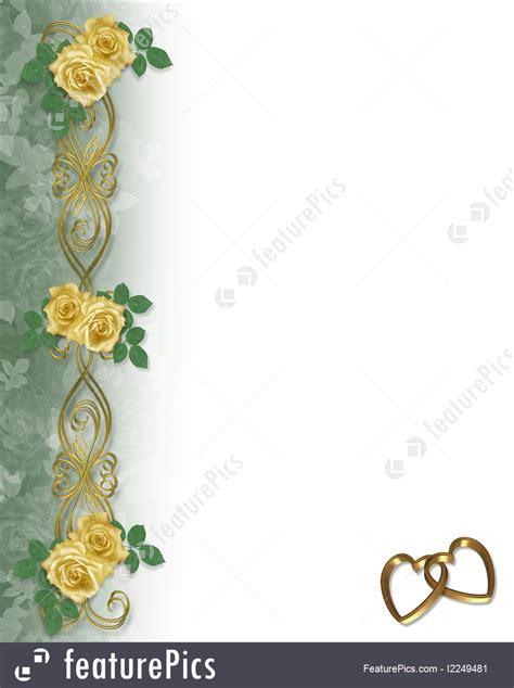 templates yellow roses gold hearts border stock