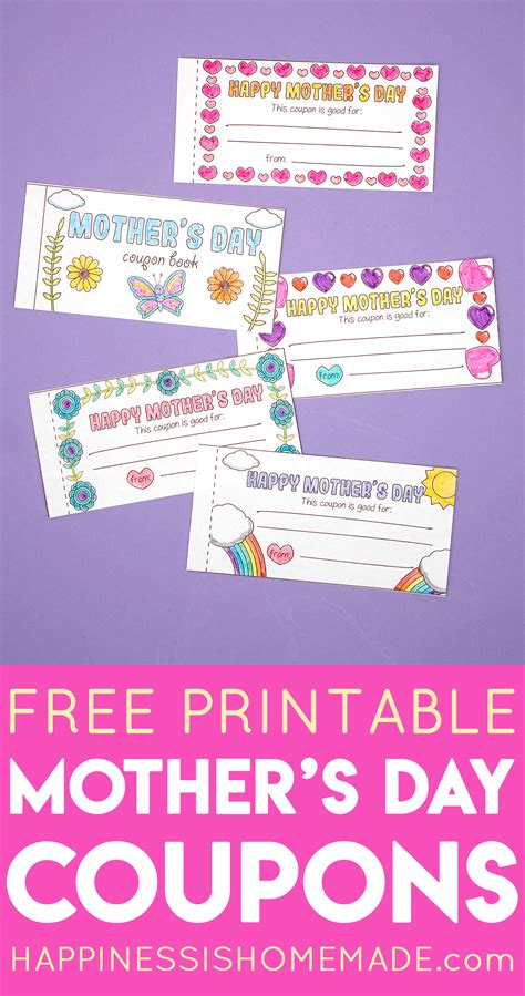 printable mothers day coupons happiness  homemade