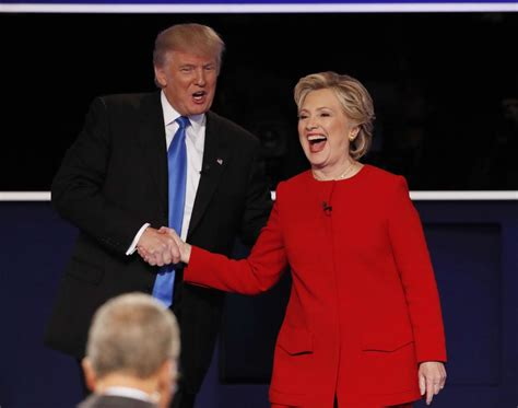 trump donald hillary clinton debate hands presidential republican did quotes shakes democratic carried she fact nominee check explained four face