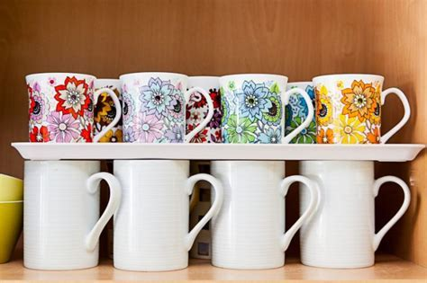 How to store more cups & mugs in your cupboard!   Vintage