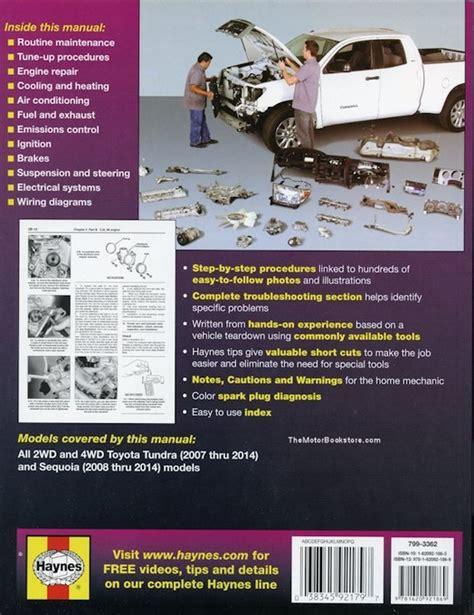 chilton car manuals free download 2002 toyota tundra on board diagnostic system toyota tundra sequoia 2007 2014 repair manual haynes 92179