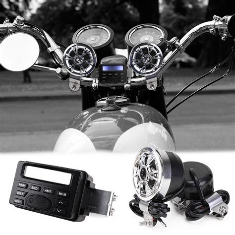 Motorcycle Bike Audio Mp3 Fm Radio Stereo Chrome Speakers