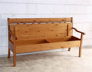 Sitzbank Mit Lehne Holz : sitzbank 180x95x62cm mit armlehnen und stauraum kiefer massiv goldbraun lackiert ~ Frokenaadalensverden.com Haus und Dekorationen