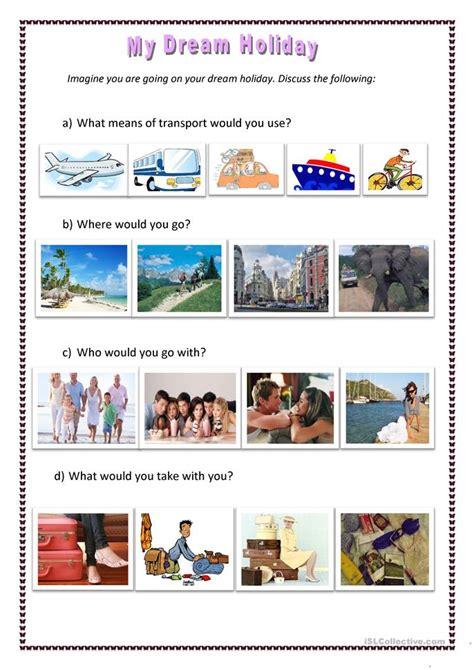 dream holiday worksheet  esl printable worksheets
