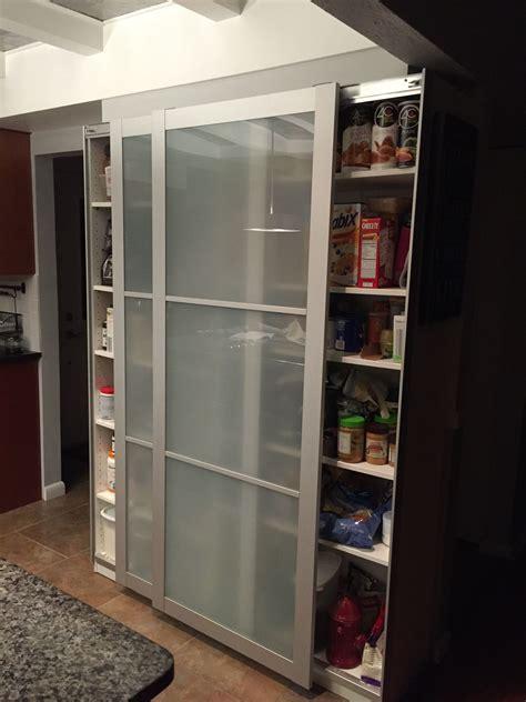ikea bookcase hack  pax doors  kitchen pantry