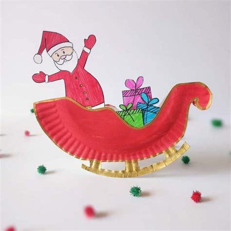 diy paper sleigh kids rocking santa claus sleigh paper plate craft hello wonderful