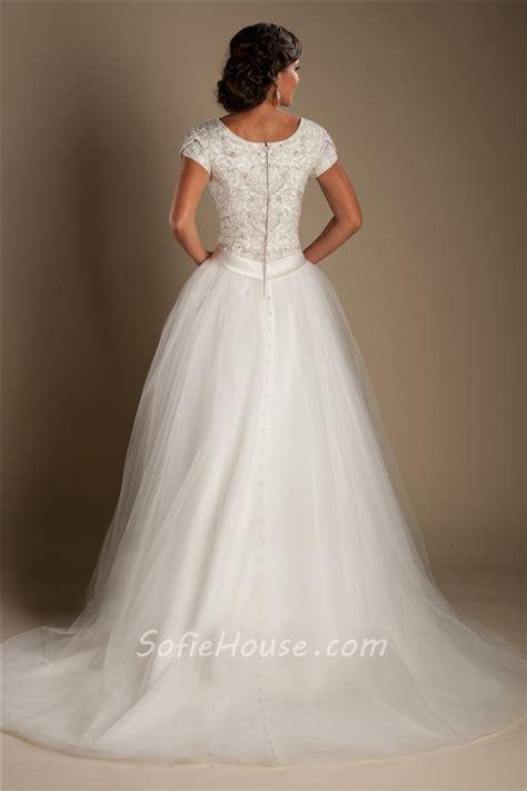 modest ball gown scoop neck short sleeve tulle beaded
