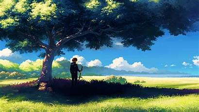 Anime Nature Scenery Boy Wallpapers Tree Under