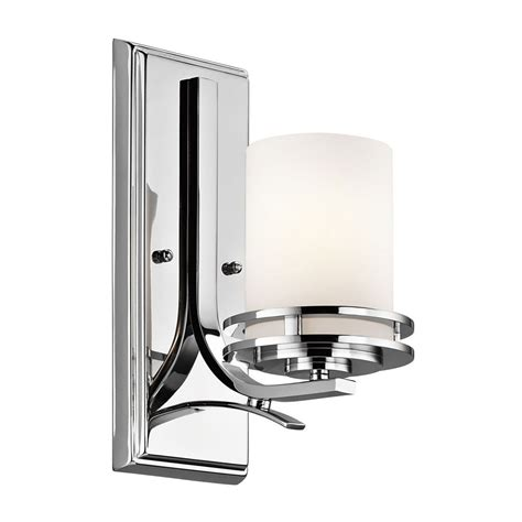 kichler modern sconce wall light with white glass in chrome finish 5076ch destination lighting
