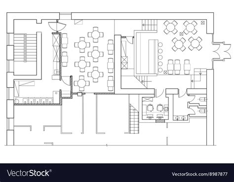 standard office furniture symbols  floor plans vector image