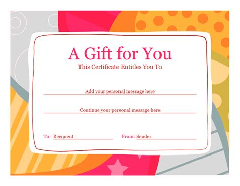 Gift Certificate Template Word Birthday Gift Certificate Template Word 2010 Free