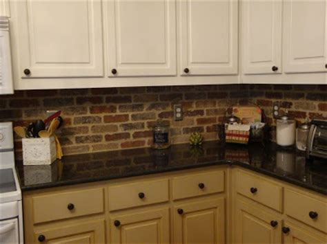 brick tile backsplash kitchen a little piece of heaven a surprise brick backsplash and some curtains