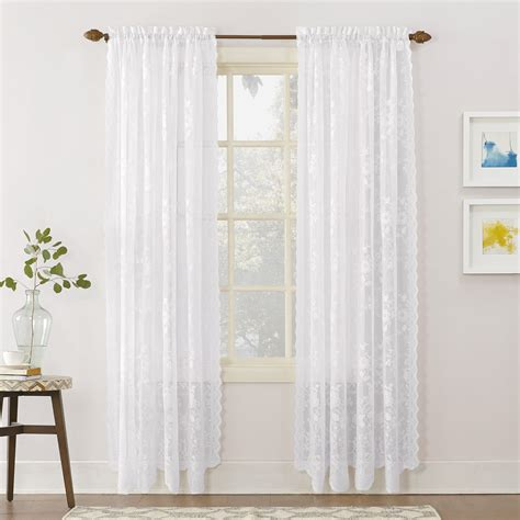 No 918 Alison Floral Lace Sheer Rod Pocket Curtain Panel