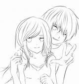Coloring Anime Couple Couples Outline Hugging Boy Template Templates Sketch Deviantart Popular sketch template