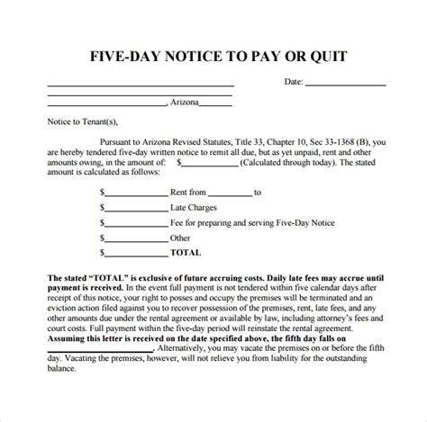 sample late rent notice templates