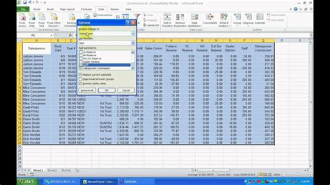 Or Exle by Inserting Subtotals In An Excel 2007 Or 2010 Worksheet Avi