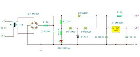 basic ups circuit 5v and 12v dc schematic design