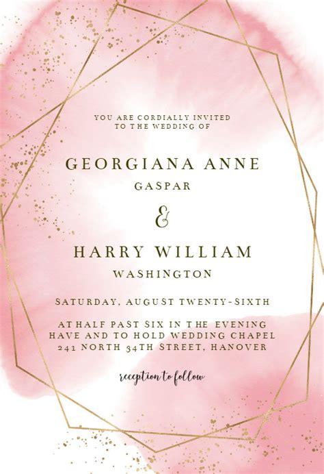 gold polygon wedding invitation template