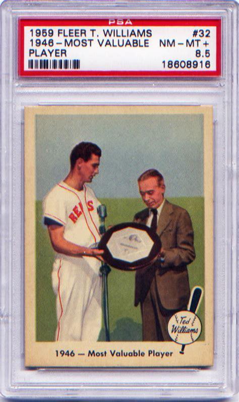1959 fleer ted williams two famous fishermen psa baseball cards