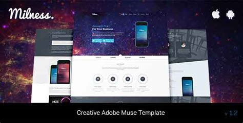 adobe muse mobile templates milness showcase mobile app adobe muse template by creative routine