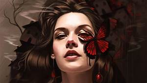 Butterfly, On, Girl, Face, Fantasy, Art, Hd, Fantasy, Girls, 4k, Wallpapers, Images, Backgrounds, Photos