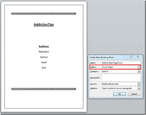 How To Make A Cover Page In Word For Resume by Word 2010 Building Blocks Organizer